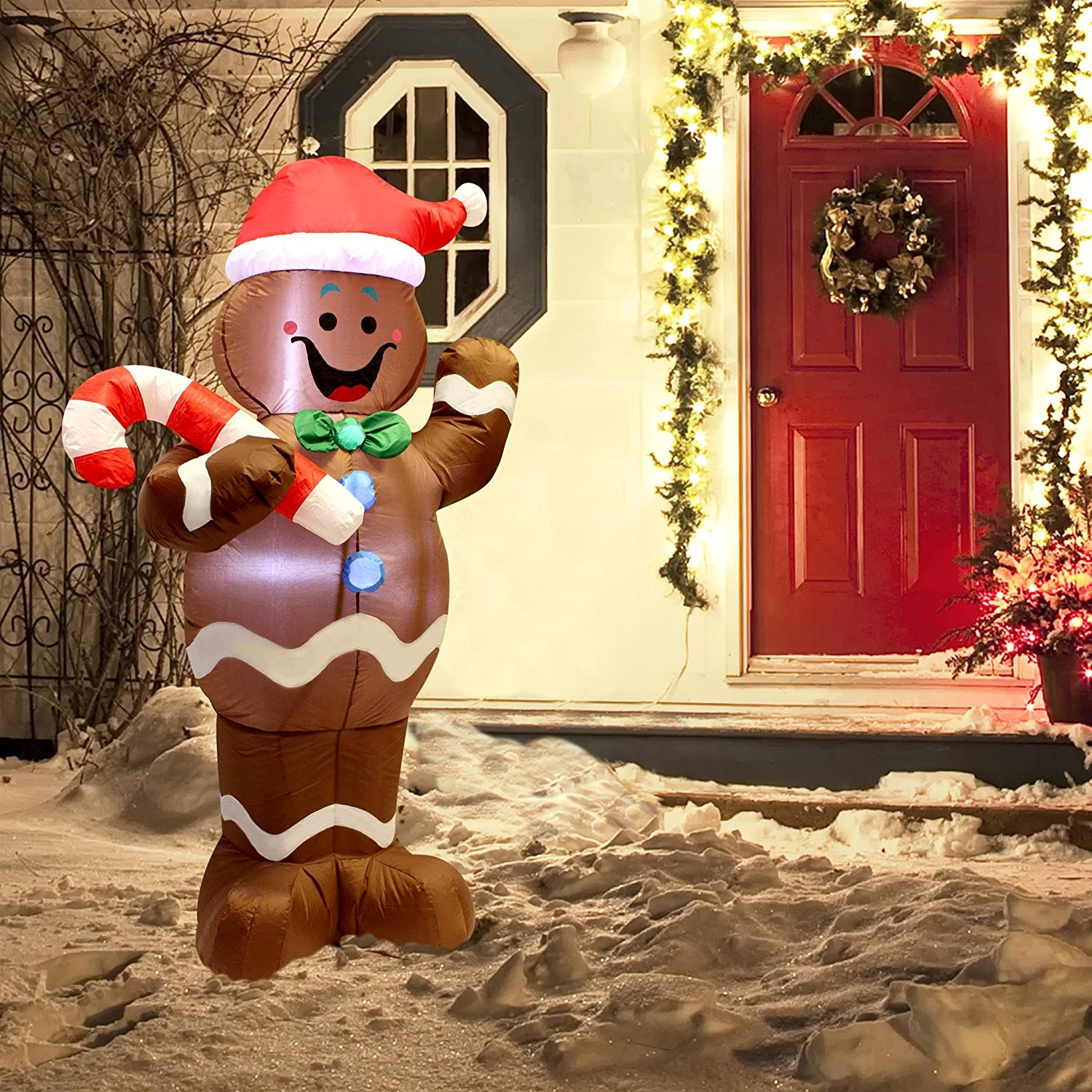 5ft self inflatable gingerbread man - Inflatable Gingerbread Man Christmas Decor