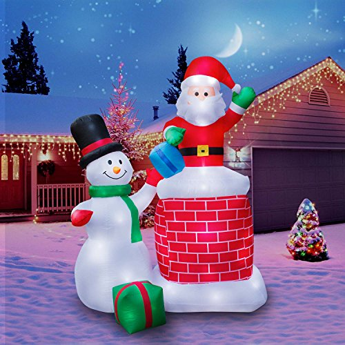 inflatable giant 10 ft santa claus snowman duo - Christmas Inflatables Cheap